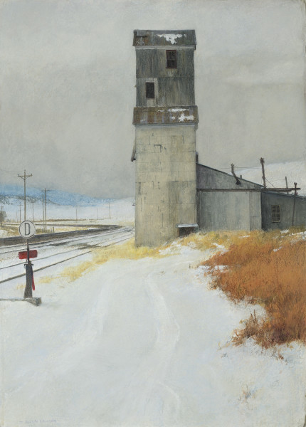 T. Allen Lawson  Silo  Mixed media on handmade paper  28 x 22ins (71.1 x 55.9cm)