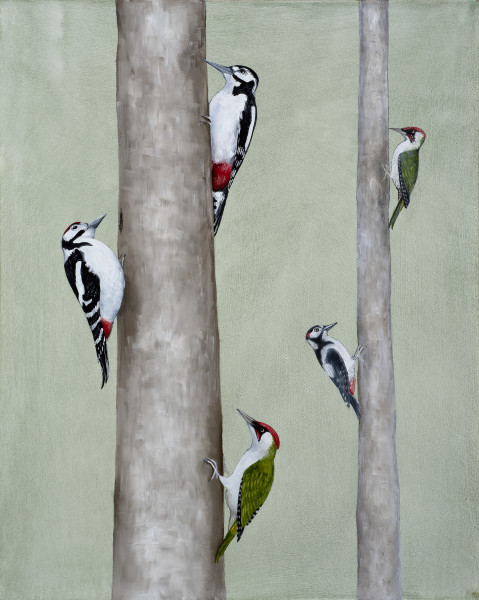 Rebecca Campbell Pecking order Oil on board 20.8 x 16.1ins (51 x 41 cm)