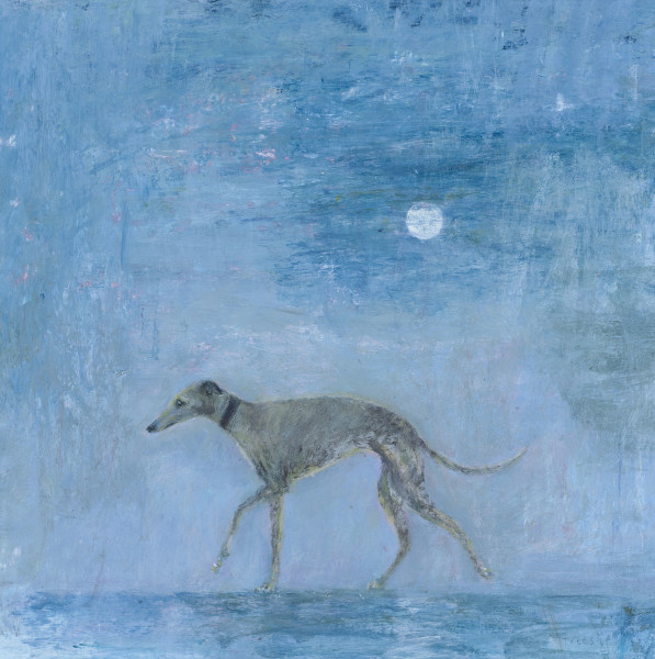 Tracy Rees Moonlit Stroll Acrylic on paper 7 x 7ins (18 x 18cm)