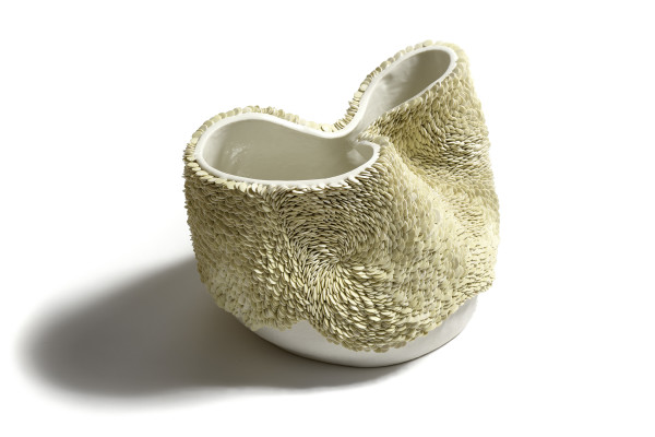 Fenella Elms White Green Flow Pot Hand-built porcelain with white and green two tone Flow outside, glazed inside 10.25 x 14 x 11ins (26 x 36 x 28cm)