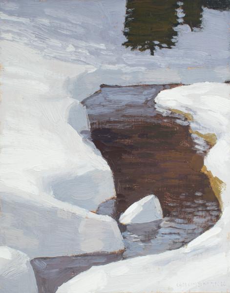 David Grossmann Winter Stream with Deep Snow Signed (bottom right) oil on linen panel 10 x 8ins (25.4 x 20.3cm)