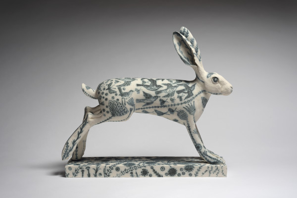 Georgina Warne  Running Hare  Stoneware with hand painted detail  17.75 x 19.7 x 4.75ins (45 x 50 x 12cm)