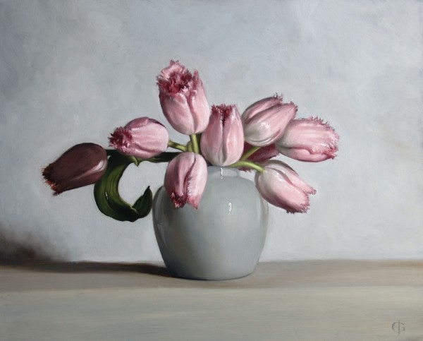 James Gillick, Pale Pink Tulips in a Ginger Pot, 2015