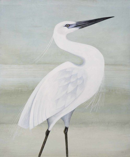 Harriet Bane Egret Watercolour and acrylic on plaster 24 x 20ins (61 x 50.8cm)