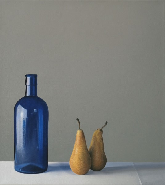 Jo Barrett Still Life with Blue Glass Bottle and Pears Oil on canvas 23.62 x 21.26ins (60 x 54cm)