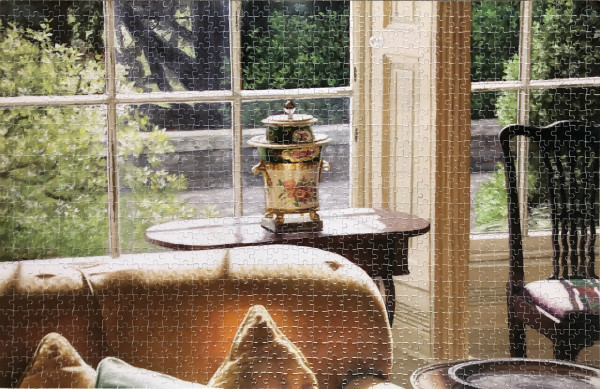 Harry Steen Jigsaw Puzzle - House in Wales - urn in window, 2020 Limited edition All proceeds from this initiative will go directly to the NHS Charities COVID-19 Urgent Appeal 1000 pieces | 26 x 17.3inches (66 x 43.9cm)