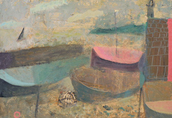 Nicholas Turner  Creel and Boats  Oil on board  11 x 16ins (28 x 41cm)