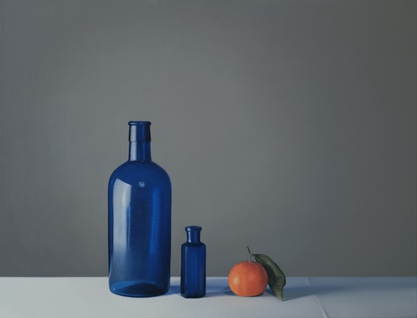Jo Barrett Still Life with Two Blue Glass Bottles and Clementine Oil on canvas 25.59 x 33.46ins (65 x 85cm) (artwork size) 26.77 x 34.65ins (68 x 88cm) (framed size)