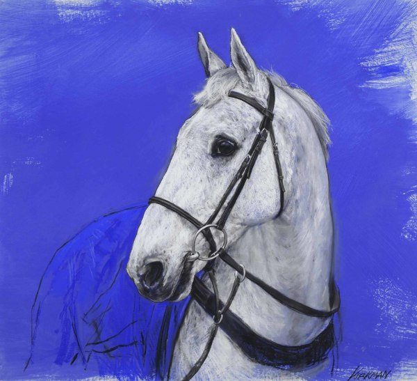 Jay Kirkman  Grey III, 1999  Charcoal, white chalk and blue pastel on prepared board  43 x 48ins (109.2 x 121.9cm)