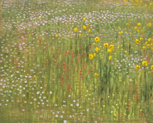 David Grossmann Mountain Wildflowers I signed (bottom right) oil on linen panel 8 x 10ins (20.3 x 25.4cm)