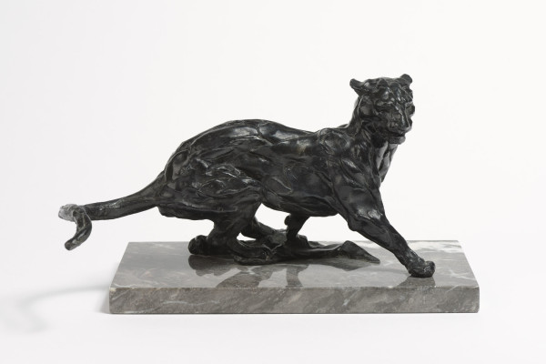 Jonathan Kenworthy Running Leopard Signed, dated 68, and numbered 8/10 Bronze, black-brown patination, on a rectangular grey-veined marble base 6.7 x 13 x 9.7ins (17 x 33 x 24.5cm)