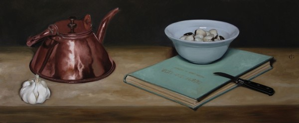 James Gillick, Kettle, Bowl of Pacific Clams, Knife, Garlic & Book, 2015