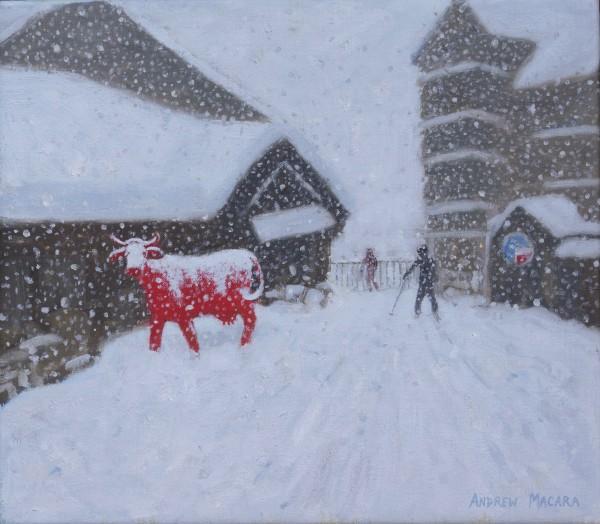 Andrew Macara Red Cow, La Vache Rouge, Les Arcs, France Oil on linen 14 x 16ins (35.6 x 40.6cm) (artwork size) 15 x 16.93ins (38 x 43cm) (framed size)