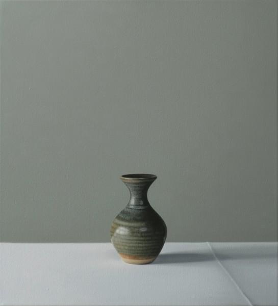 Jo Barrett Still Life of Small Green Vase Oil on canvas 17.32 x 16.14ins (44 x 41cm)