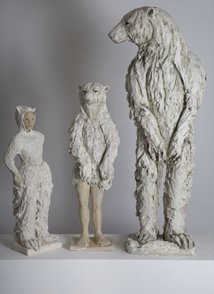 Tanya Brett, 1.Creature (left); 2. Standing Bear with Human Legs (centre); 3. Upright Bear (right)
