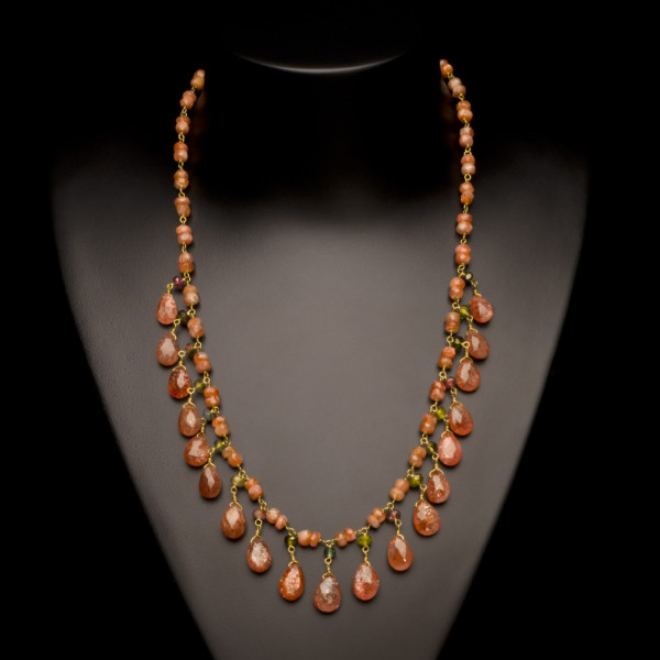 Sunstone and Tourmaline Petal Necklace