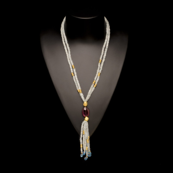 Aquamarine and Tourmaline Tassle Necklace