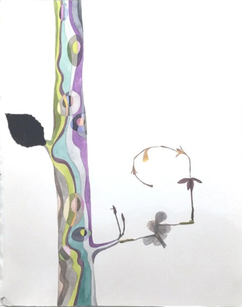 Marilla Palmer  Jacaranda Angles, 2015  watercolor, pressed flowers, velvet on Arches paper  12 x 9 in.  framed $1,100