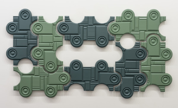 Noah Loesberg  Rosettes and Plinth Blocks, 2016  painted wood  37 x 66 x 1.5 in.