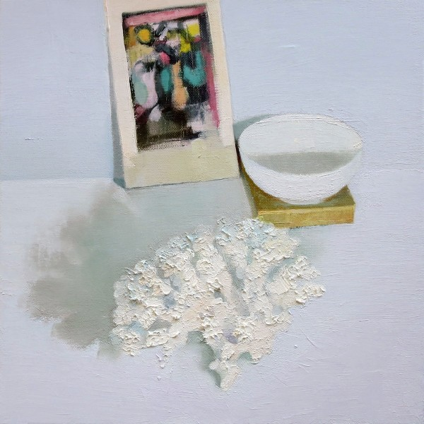 Stephanie London  Still Life with Roualt, 2014  oil on linen  12 x 12 in.