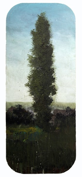 Peter Hoffer  Cathedral, 2012  oil and acrylic on panel  60 x 24 in.