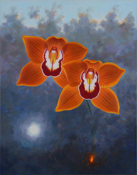 L.C. Armstrong  Fiery Orange Cymbidium, 2014  oil on canvas  28 x 22 in.