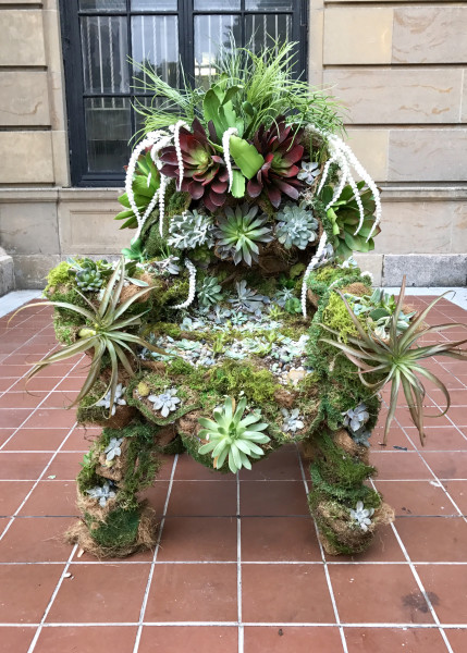 Natalie Collette Wood Throne, 2017 succulents, moss and reclaimed furniture 48 x 42 x 36 in.