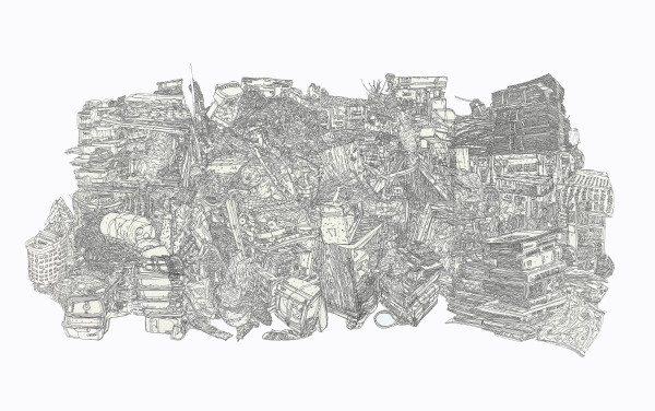 Heesop Yoon  Still Life with Books, 2016  etching  15 x 22 in.