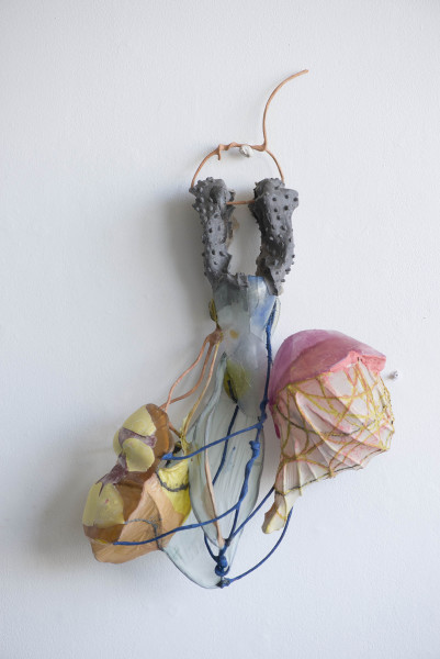Nancy Cohen  Cabriole , 2014  metal, glass, wire, handmade paper and resin  26 x 15 x 6 in.