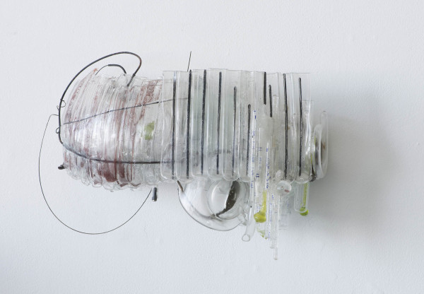 Nancy Cohen  What Can't Be Stored , 2014  metal, glass, wire and handmade paper  11 x 16 x 5 in.