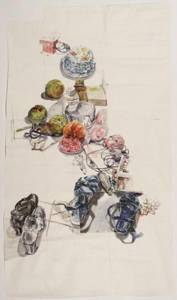 Dawn Clements  Kitchen Floor, 2010  sennelier ink on paper  79 x 48 in.