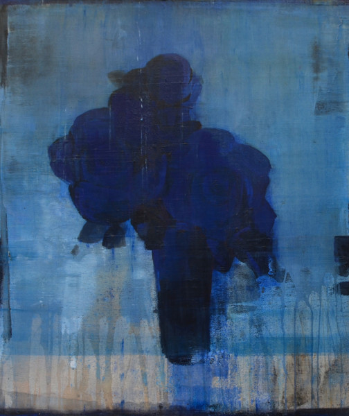 Daniel Brice  PP-Blue on Blue, 2018  oil and acrylic on canvas over panel  28 x 24 in.