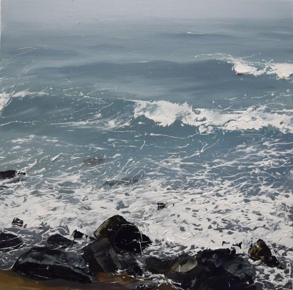 Annie Wildey  Rocks n Surf II, 2015  oil on canvas  12 x 12 in.  framed $1,150