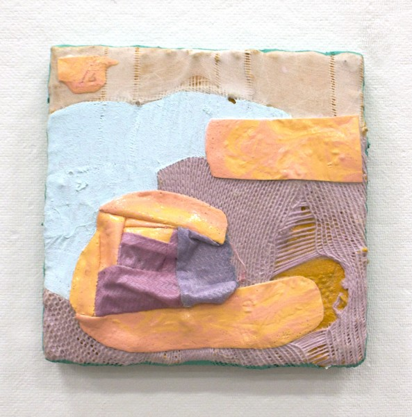 Anna Buckner  Shallow End, 2015  acrylic and flashe on pieced fabric on stretcher  8 x 8 in.