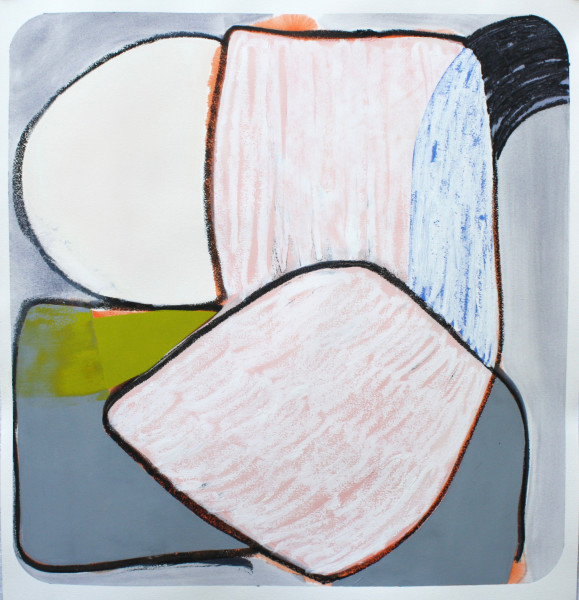 Marcelyn McNeil  Sliced, Diced, Scattered and Covered #1, 2017  oil on paper  32 x 32 in.