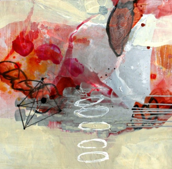 Allison Stewart  Haiku Gulf #14  mixed media on panel  20 x 20 in