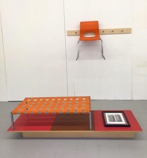 Peter Dudek  Modern Shakers, 2015  metal, wood, plastic webbing, MDF, paint, hand-colored print, chair, wooden Shaker pegs  69 x 96 in