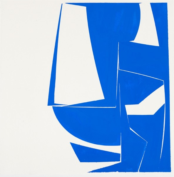 Joanne Freeman  Covers 24 Blue (D), 2015  gouache on Khadi handmade paper  24 x 24 in.