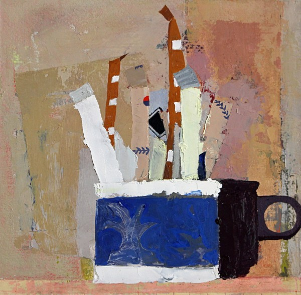 Sydney Licht  Still Life with Sugar Packets and Cup #2, 2015  oil on panel  8 x 8 in.