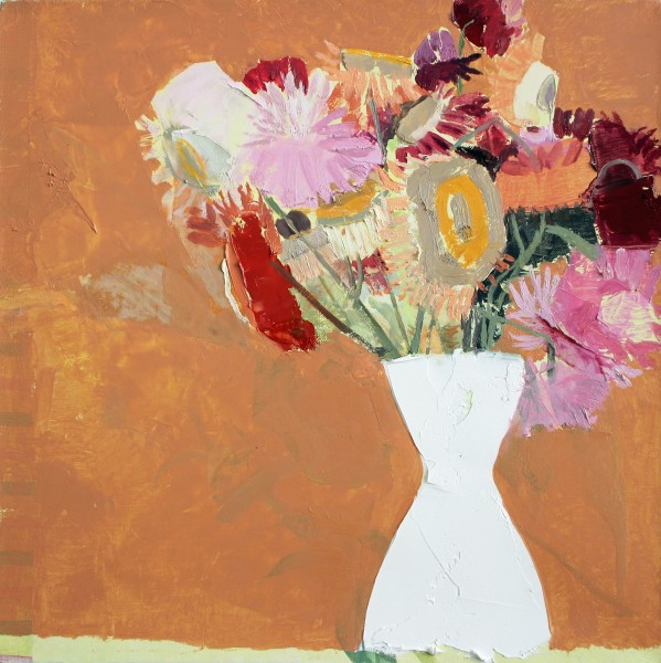 Sydney Licht  Still Life with Flowers, 2015  oil on linen  12 x 12 in.