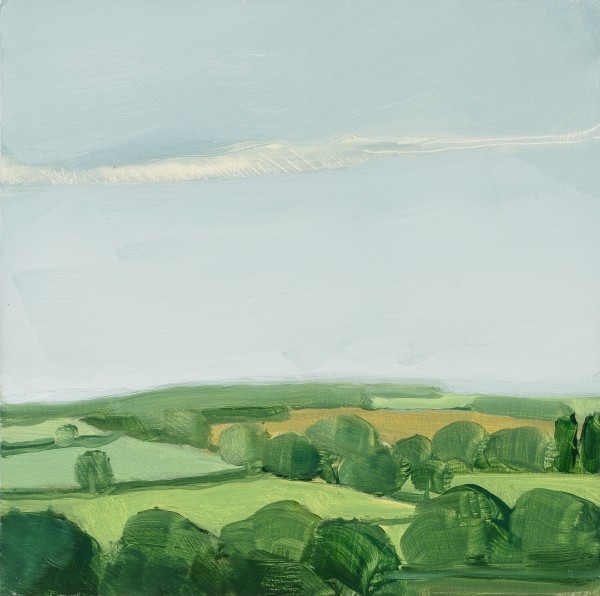 Sara MacCulloch  Trees and Fields, England, 2009  oil on panel  10 x 10 in.  $1,400
