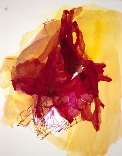 Elizabeth Gilfilen  Yellow Stumbling Block #1, 2015  ink and watercolor on paper  14 x 11 in  $1,200