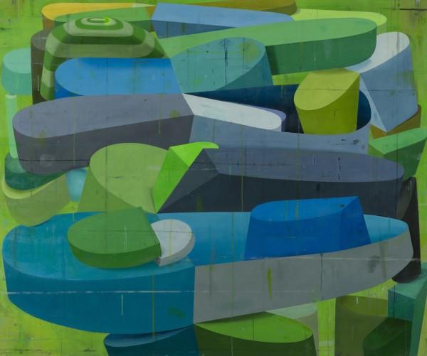 Deborah Zlotsky  Tulips and chimneys, 2014  oil on canvas  60 x 72 in