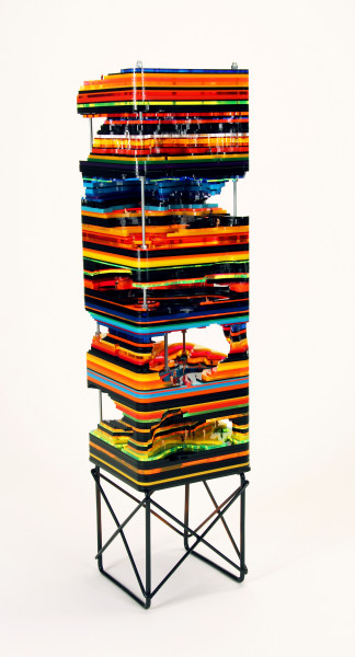 Susan Meyer  Vinyl, 2011  laser cut acrylic, HO scale figures, aluminum stand, hardware  40 x 10 x 10 in.