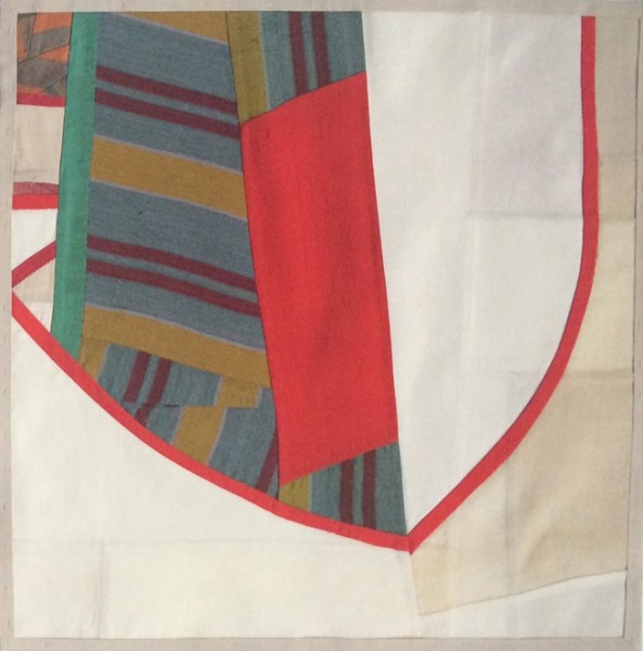 Debra Smith  Shifting Meditation #4, 2015  pieced vintage silk  14.5 x 14.5 in.  framed $1,500