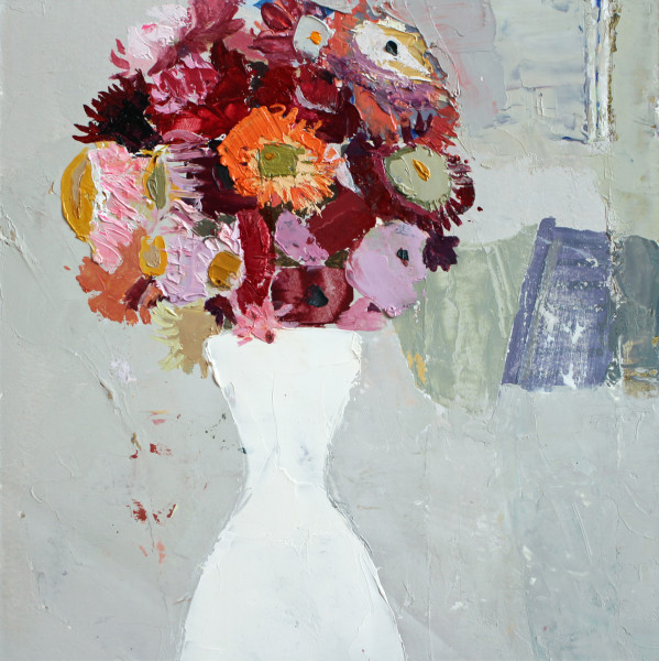 Sydney Licht, Still Life with Flowers in White Vase, 2018