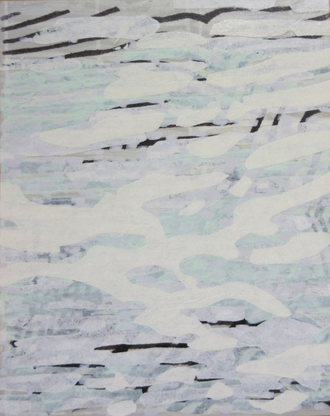 Laura Fayer  Small Work #3, 2015  acrylic and rice paper on panel  10 x 8 in  $800