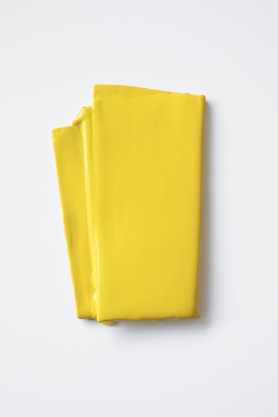 Deb Covell Yellow Pleat, 2018 acrylic paint and car laquer 10 x 7 in.