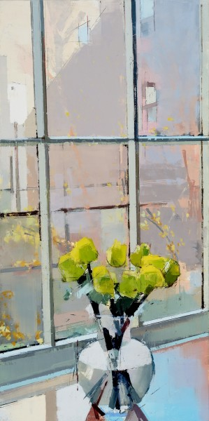 Lisa Breslow  Window Meditation 2, 2015  oil and pencil on panel  32 x 16 in