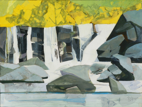 Mariella Bisson, Chasing Waterfalls, Yellow Foliage, Double Falls (unframed)